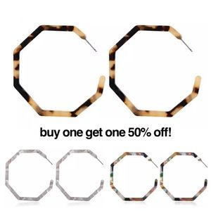 Tortoise Shell Acrylic Hexagon Hoop Earrings